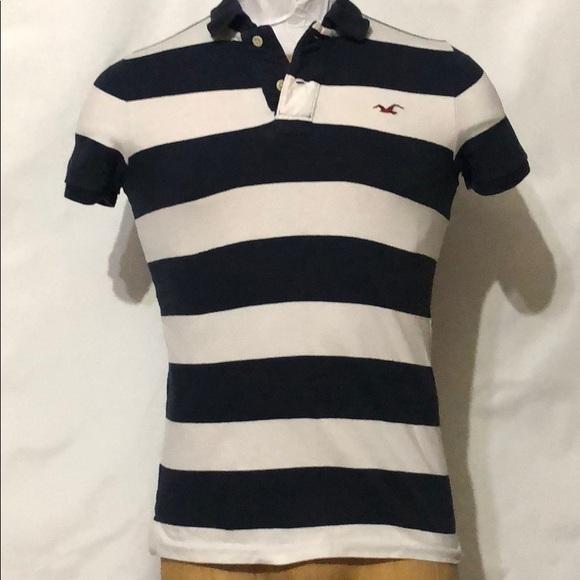 8923adf7 Hollister Shirts   Mens Navy Blue And White Stripe Polo   Poshmark